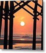 Sunrise At Folly Pier Metal Print