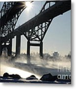 Sunrise Blue Water Bridges Fog Metal Print