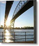 Sunrise Blue Water Bridges Metal Print
