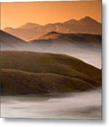 Sunrise Castelluccio Di Norcia In Morning Fog Metal Print