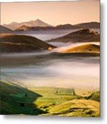 Sunrise In Castelluccio Di Norcia In Morning Fog Metal Print