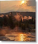 Sunrise Near Yellowstone's Punch Bowl Spring Metal Print
