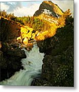 Sunrise On A Waterfall At Glacier  Metal Print