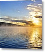 Sunrise On Foggy Lake Metal Print
