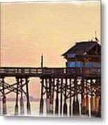Sunrise On Rickety Pier Metal Print