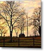 Sunrise Over A Barn Metal Print
