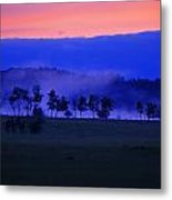 Sunrise Over Field With Trees Metal Print