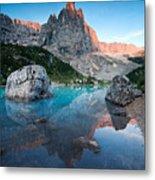 Sunrise Over Peak In Dolomites Metal Print