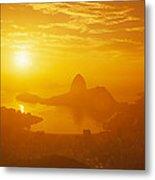 Sunrise Over Rio De Janeiro And Sugar Metal Print
