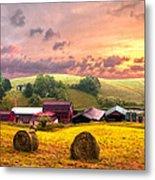 Sunrise Pastures Metal Print
