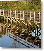 Sunrise Pier Reflection Metal Print