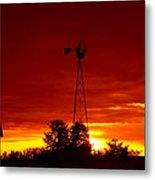 Sunrise Windmill 1 C Metal Print