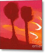 Sunset Abstract Trees Metal Print