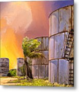Sunset And Abandoned Oil Tanks Metal Print