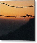 Sunset And Barbed Wire At Big Sur Metal Print
