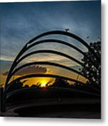 Sunset And Birds Metal Print
