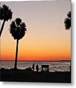 Sunset And Palms And Two Metal Print