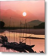 sunset at Mae Khong river Metal Print