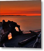 Sunset At Marina Beach Park In Edmonds Washington Metal Print by Sarai Rachel