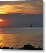 Sunset At Ocracoke Metal Print