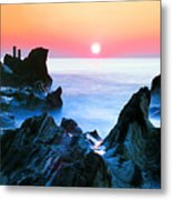 Sunset At Sea With Rocks In Foreground Metal Print