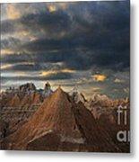 Sunset At The Badlands Metal Print