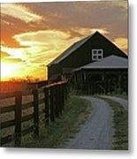 Sunset At The Farm Metal Print