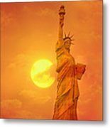 Sunset Behind The Statue Of Liberty Metal Print
