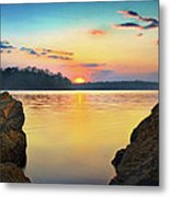 Sunset Between The Rocky Shore Metal Print