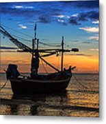 Sunset Fisherman Boat Huahin Thailand Metal Print