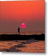 Sunset Fishing Metal Print