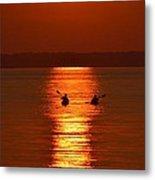Sunset Kayakers Metal Print