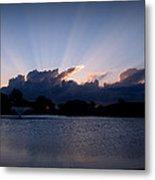 Sunset Light Rays Over The Pond Metal Print
