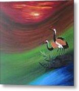 Sunset-oil Painting Metal Print by Rejeena Niaz
