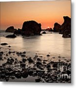 Sunset On A Rock Metal Print