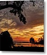 Sunset On Biloxi Bay Metal Print