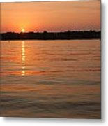 Sunset On Geist Reservoir In Lawrence In Metal Print