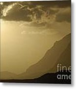 Sunset On Mountains By Coastal Landscape Metal Print