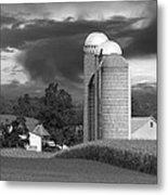 Sunset On The Farm Bw Metal Print by David Dehner