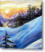 Sunset On The Snow Metal Print by Trudy Morris