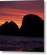 Sunset On Three Arch Rocks Bird Sanctuary Metal Print
