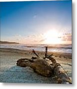 Sunset Over A Misty Beach Metal Print
