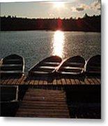 Sunset Over Bear Pond Sabattis Adventure Camp Metal Print