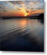 Sunset Over Gulfport Casino In Gulfport Florida Metal Print