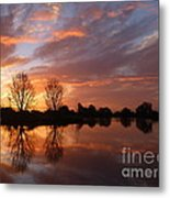 Sunset Over Lake At Finley Metal Print