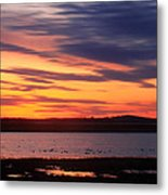 Sunset Over Marshes Parker River National Wildlife Refuge Metal Print