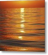 Sunset Over Ocean Horizon Metal Print