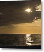 Sunset Over The Gulf - Peeking Through The Clouds Metal Print