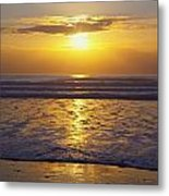 Sunset Over The Pacific Ocean Along The Metal Print by Craig Tuttle