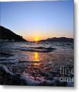 Sunset Over The Waves Metal Print